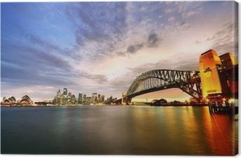 Canvastavla Sydney Harbor Panorama i skymningen