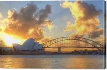 Canvastavla Sydney Harbour med Operahuset och bron