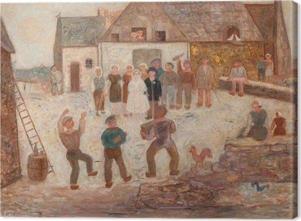 Canvastavla Tadeusz Makowski - Bruiloft op het platteland - Reproductions