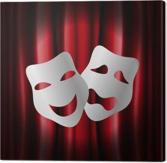 Canvastavla Teater masker med röda ridån