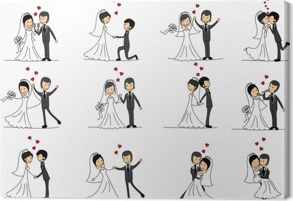 Tapet kärlek par tecknad