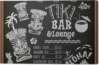 Canvastavla Tiki Bar och Lounge Svarta tavlan cocktail meny