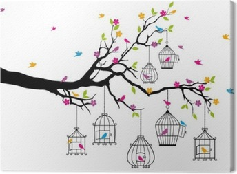 Canvastavla Träd med fåglar och fågelburar, vektor