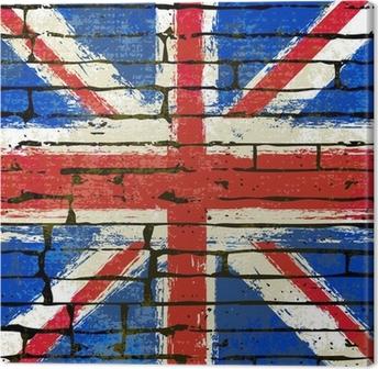 Canvastavla Union Jack på en tegelvägg bakgrund