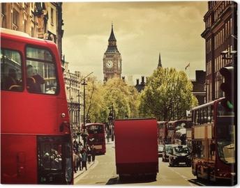 Canvastavla Upptagen gata i London, England, Storbritannien. Röda bussar, Big Ben