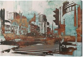 Canvastavla Urban stadsbild med abstrakt grunge, illustration målning