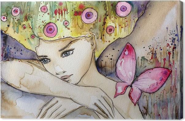 Canvastavla Vacker flicka med fjäril -