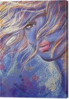 Canvastavla Vacker kvinna. akvarell illustration