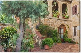 Canvastavla Vacker veranda i en liten stad i Toscana