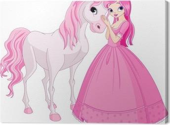 Canvastavla Vackra prinsessan och häst