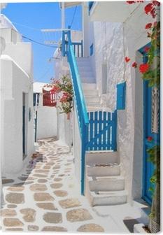 Canvastavla Vackra vita gatorna i Mykonos, Grekland
