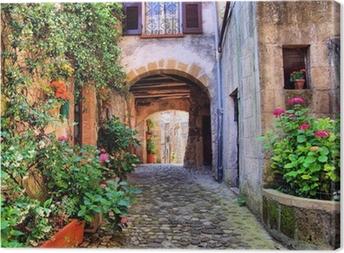 Canvastavla Välvda kullerstensgata i en toskansk by, Italien