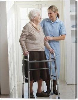 Canvastavla Vårdare hjälpa Äldre Hög användande kvinna rollator