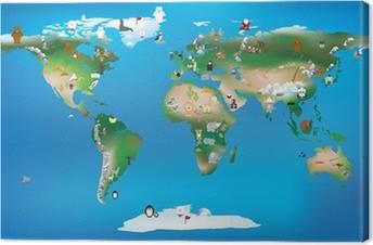 Canvastavla Världskarta för barn som använder karikatyrer av djur och berömda lan