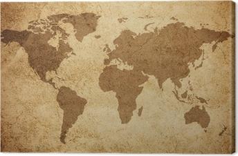 Canvastavla Världskartan konsistens bakgrund