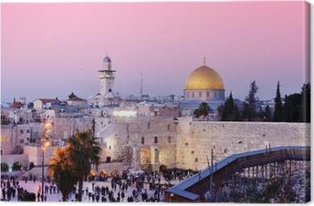 Canvastavla Västra muren och Klippdomen i Jerusalem, Israel