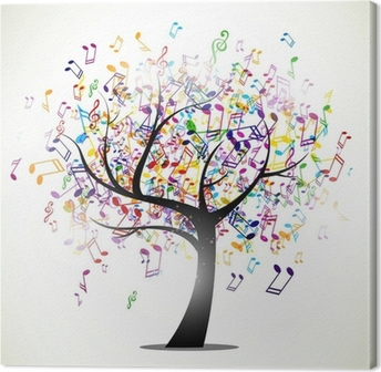Canvastavla Vektor Illustration av ett abstrakt bakgrund med musik noter