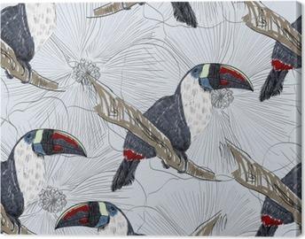 Canvastavla Vektor skiss av en papegoja med blommor. Handritad illustration