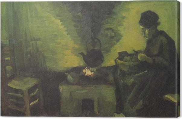 Canvastavla Vincent van Gogh - Bondkvinna vid härden - Reproductions
