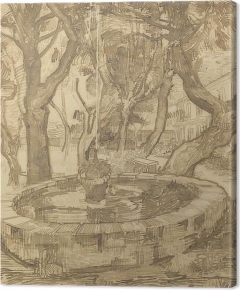 Canvastavla Vincent van Gogh - Fontän i asylens trädgård - Reproductions