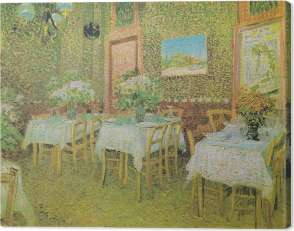 Canvastavla Vincent van Gogh - Inre av en restaurang - Reproductions