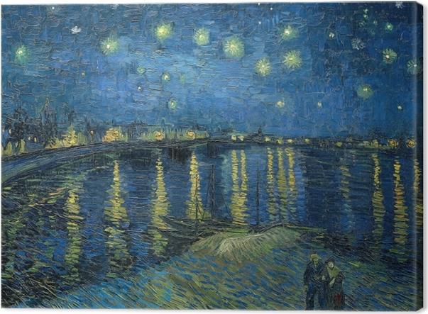 Canvastavla Vincent van Gogh - Stjärnenatt över Rhône - Reproductions