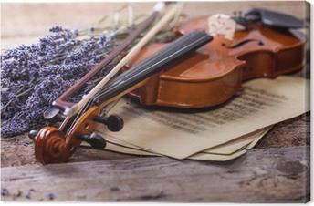 Canvastavla Vintage komposition med fiol och lavendel