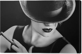 Canvastavla Vintage kvinna med en hatt och cigarr