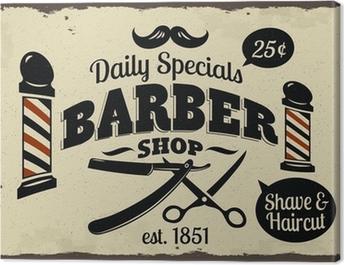 Canvastavla Vintage Styled Barber Shop