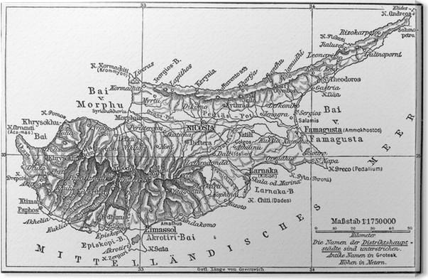 Karta Famagusta Cypern.Canvastavla Vintagekarta Av Cypern I Slutet Av 19 Talet Pixers