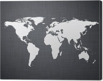 Canvastavla Vit World Map