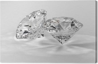 Canvastavla Vitdiamanter 3D
