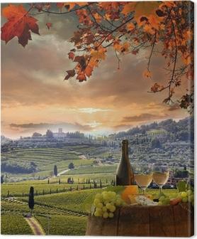 Canvastavla Vitt vin med barell i vingården, Chianti, Toscana, Italien