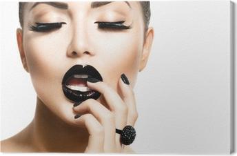 Canvastavla Vogue Style Fashion Flicka med Trendig Caviar Black Manicure