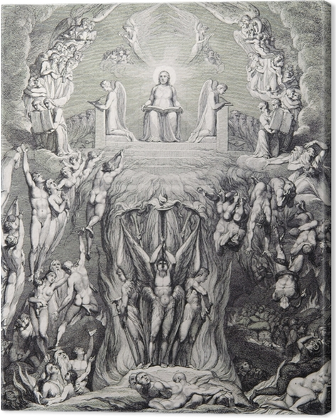Canvastavla William Blake - En vision av Yttersta Domen - Reproduktioner