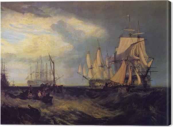 Canvastavla William Turner - Spithead; Båtens besättning återhämtar ett ankare - Reproduktioner