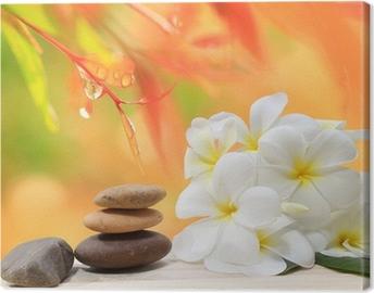 Canvastavla Zen spa koncept bakgrund - Zen massage stenar med frangipani plumeria blomma och vattendroppar på naturen bakgrund