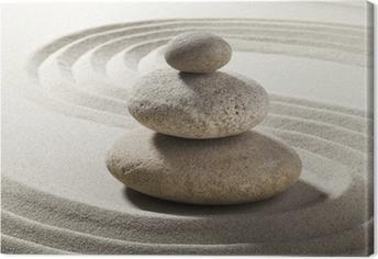 Canvastavla Zen trädgård med sand och grus