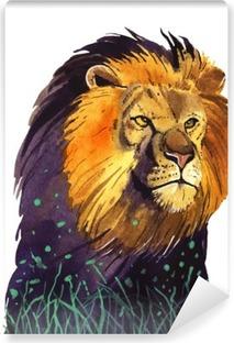 Carta da Parati in Vinile Acquarello leone