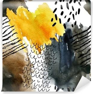 Carta da Parati in Vinile Acquerello astratto seamless in colori autunnali.
