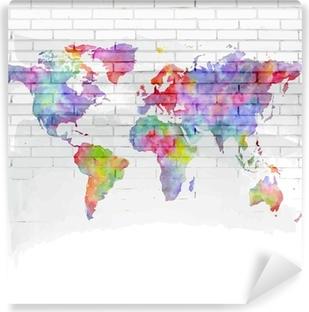Carta da Parati in Vinile Acquerello mappa del mondo su un muro di mattoni