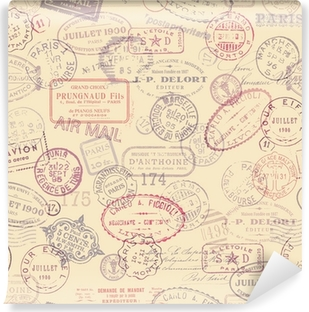 Carta da Parati in Vinile Affrancatura sfondo a tema con francobolli d'epoca (piastrelle)