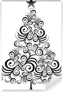 Carte da parati albero in bianco e nero pixers - Contorno di un albero di natale ...