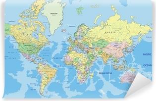 Carta da Parati in Vinile Altamente dettagliata mappa del mondo politico con l'etichettatura.