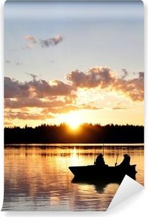 Carta da Parati in Vinile Angler im Boot