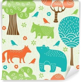 Carta da Parati in Vinile Animali della foresta seamless pattern