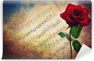 Carta da Parati in Vinile Antico spartito musicale con rosa rossa