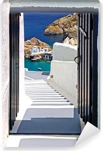 Carta da Parati in Vinile Architettura tradizionale del villaggio di Oia sull'isola di Santorini, Gre