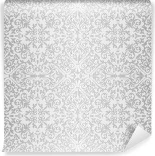 Carta da Parati in Vinile Argento modello luminoso barocco