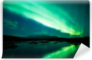 Carta da Parati in Vinile Aurora boreale sopra laguna in Islanda